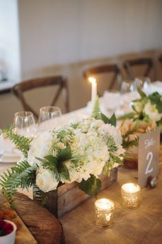 Wedding Flower Arrangements white flower arrangements - Stop trying to make over-the-top flower arrangements, and just use this one simple trick for gorgeous floral displays, time after time. Wedding Table Setup, Rustic Wedding Centerpieces, Flower Centerpieces, Wedding Decorations, Centerpiece Ideas, Wooden Box Centerpiece, Fern Centerpiece, Long Table Centerpieces, Rustic Weddings