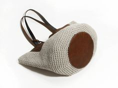 Crochet Genuine Leather Bag, Handmade Purse, Shoulder Bag Shopping Bag