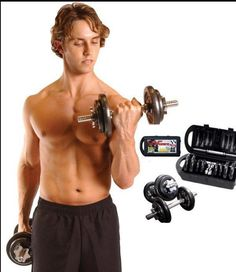 Dumbbell Set Hand Weights Adjustable 40 lb Bodybuilding Black Plates Steel Bar #CAPBarbell