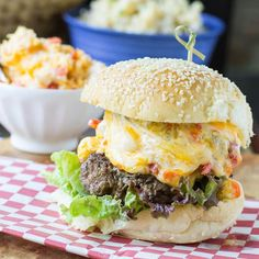 A Southern-style burger topped with extra creamy and cheesy pimento cheese. Description from spicysouthernkitchen.com. I searched for this on bing.com/images