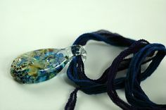 Lamp Work Blue Focal on 2 Silk Ribbons Necklace N184 by Marcia Etheridge