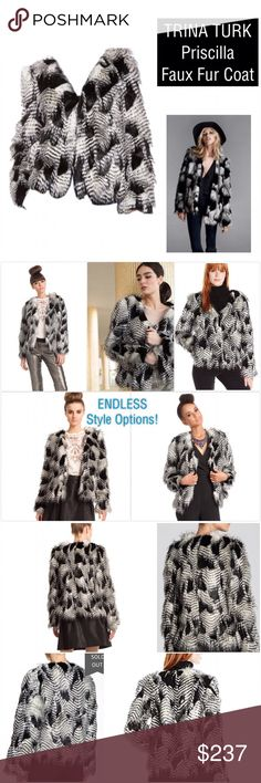 ✨AMAZING NWT Trina Turk Faux Fur Jacket✨ This faux fur coat from Trina Turk is beyond amazing-endless ways to style I simply couldn't provide all the looks or stock and personal photos in 4 photos! Brand NWT, MSRP $398. Style: 'Priscilla' Color: Black/White. Lined (has 2 linings see photo 4), 2 hidden front slit pockets, v neck line, straight hem. Has 3 inside equally spaced hook and eye closures, easily worn open as well. Completely comfortable, soft, wearable and so versatile! Love 😍…