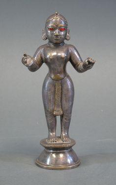 Lot 70 - RADHA Bengal, century silvered brass, with glass inlaid eyes… Krishna Statue, Hare Krishna, Kids Klub, Hindu Statues, Lord Krishna Images, India Art, Hindu Deities, Religious Icons, Indian Gods