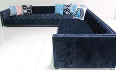 Navy Tufted New Deep Sectional | Room Service Store