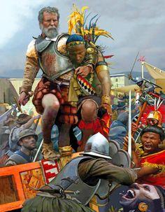 Spanish Conquistador Francisco Pizarro holding the Inca Emperor Atahualpa hostage as his men cut down the Incas warriors, Spanish conquest of Peru