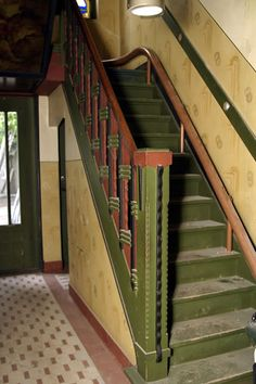 Villa Nimrod,Boxtel,The Netherlands. Built in still completely in original state. Staircase typical example of Amsterdamse School. Amsterdam School, Amsterdam Houses, Beautiful Architecture, Architecture Design, Art Nouveau, Stair Art, Brick Construction, Clock Art, Art Deco Furniture