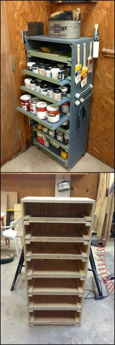 How To Build A Paint Storage Cabinet Heres a great project to organize and add storage to your workshop! Its great because it provides easy access to all your paint cans. You can sort them according to brand type colour or size. Paint Storage, Wood Storage, Craft Storage, Storage Cabinets, Kitchen Storage, Storage Ideas, Diy Kitchen, Storage Bins, Wood Shelves