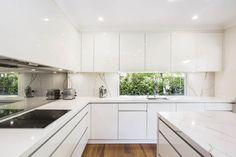 Kitchen Renovation Brings The Outdoors Inside | Dan Kitchens Timber Kitchen, Open Kitchen, Kitchen Dining, Kitchen Cabinets, Minimalist Kitchen Renovation, Modern Kitchen Design, Mirror Splashback, Kitchen Measurements, Kitchen Showroom