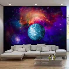 Galaxy Forest Wallpaper Wall Decal Art Bedroom Starry Night Tree ...