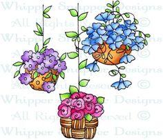 Garden Hanging Trio - Whimsical - Floral/Garden - Rubber Stamps - Shop