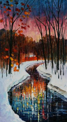 Winter Stream by Leonid Afremov ............ lovely water reflection effect!