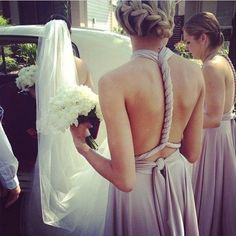 Throwback to this gorgeous wedding & sexy backs of bridesmaids @strongisthenewskinny94 in their Goddess By Nature signature ballgowns in the stunning & exclusive blush pearl colour  www.goddessbynature.com Stockists & shipping worldwide #wedding #bridesmaids #multiway #dresses