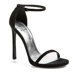 Women's Stuart Weitzman 'Nudist' Sandal (335 CAD) ❤ liked on Polyvore featuring shoes, sandals, heels, black goose bump, stuart weitzman shoes, black shoes, ankle strap shoes, stuart weitzman sandals and black heeled shoes