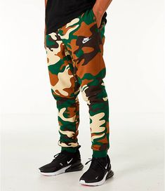 1af4b929f643 Front view of Men s Nike Sportswear Camo Cuffed Jogger Pants in Green Camo  Nike Joggers