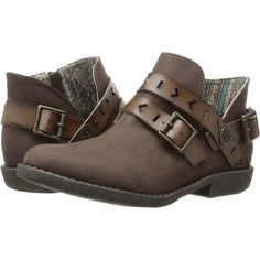 Blowfish Anotole (Coffee Old Mexico/Brown Dyecut PU) Women's Boots ($36) ❤ liked on Polyvore featuring shoes, boots, brown, short heel boots, platform shoes, bootie boots, low heel ankle boots and blowfish boots