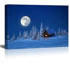 Canvas Prints Wall Art  Beautiful SceneryLandscape Wooden House in Winter Forest under the Bright Full Moon  Modern Wall Decor Home Decoration  24 x 36 -- Want additional info? Click on the image.