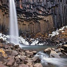 A waterfall surrounded by unbelievable rock formations! This is Litlanesfoss Falls in Iceland. The rock formations are naturally hexagonal, making this waterfall one of the most unique in the world.