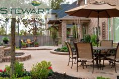 Why cook dinner outside and take it inside? Enjoy your backyard with a stylish dining area! Cook Dinner, Custom Pools, Backyard, Patio, Irrigation, Water Features, Dining Area, Landscape, Inspired