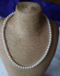 Pearl Necklace - Swarovski Pearl Bridal Jewellery, Single string of Pearls, Sterling Silver Rose Clasp, Mothers Day Gift Ideas, Valentines Bridal Accessories, Bridal Jewelry, Jewelry Gifts, Jewellery, Birthday Gemstones, Pearl Necklace, Beaded Necklace, Wedding Gift Boxes, Vintage Wedding Theme