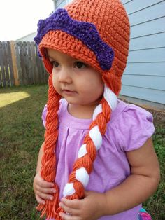 Anna Frozen hat with crown by JennieSawyersDesigns on Etsy