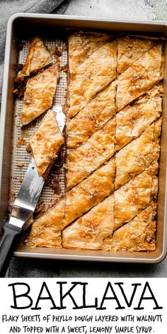 Youre going to love my familys Traditional Baklava Recipe! Flaky sheets of phyllo dough layered with walnuts and topped with a sweet lemony simple syrup. Phyllo Dough Recipes, Pastry Recipes, Cookie Recipes, Pastry Dough Recipe, Best Dessert Recipes, Easy Desserts, Delicious Desserts, Greek Desserts, Greek Recipes