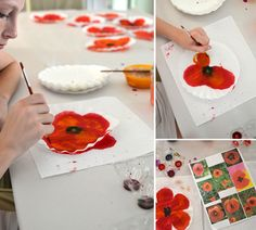 DIY Painted Poppy Art – Vary colors and do different types of flowers, too Remembrance Day Activities, Remembrance Day Art, Painting For Kids, Diy Painting, Art For Kids, Camping Crafts, Fun Crafts, Crafts For Kids, Flower Crafts