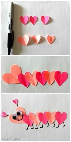 Valentine's Day Heart Caterpillar Craft For Kids #Valentine craft #Love bug #heart animal | CraftyMorning.com