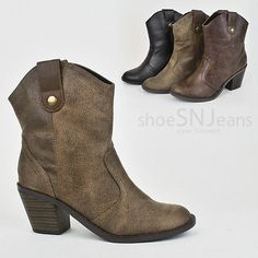 Women Western Cowboy Cowgirl Fashion Boots Slip On Ankle Booties Low Heel Shoes