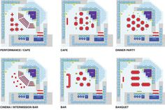 Diagramatic view showing seating the change of seating configuration for different events.