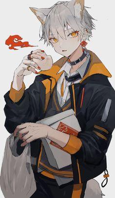 Anime Oc, Fanarts Anime, Anime Kawaii, Anime Characters, Dark Anime Guys, Cool Anime Guys, Cute Anime Boy, Anime Style, Anime Cat Boy
