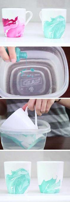DIY Deko Idee, Tassen mit Nagellack bemalen, kreative Idee