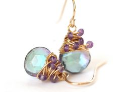 Mystic Rainbow and Purple Dangle Drop Earrings by WrennJewelry, $42.00