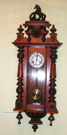 37 Tall Vienna Regulator Wall Clock Germany 8 Day Key Wound Wood