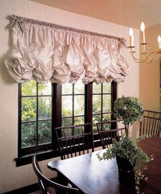 Balloon curtains and tie up curtains will add a unique look to any room. Try our balloon valance, tie up valance, tie up curtain, tie up val. Balloon Curtains, Hanging Curtains, Drapes Curtains, Valances, Blinds For Windows, House Windows, Austrian Blinds, Balloon Shades, Kitchen Window Treatments