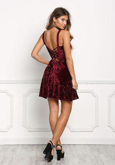 Burgundy Crushed Velvet Caged Flare Dress