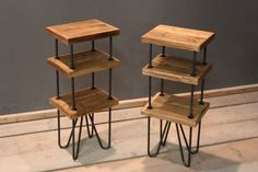 Speaker Stands / Side Tables, (pair) Handmade Contemporary Rustic (The Copford)
