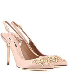 Bellucci embellished pink satin slingback pumps