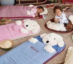 Shaggy Dog Sleeping Bags #PotteryBarnKids (Awesome gift for Christmas) My Grandchildren love them!