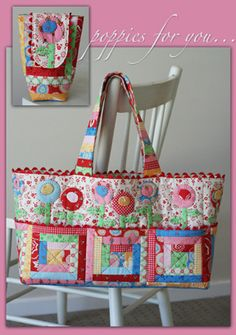 wow!  look at the roominess in this bag!  huge enough for even the kitchen sink!  Love the patchwork too.  I normally hate patchwork in small objects, it works here.  J042 Poppies for You