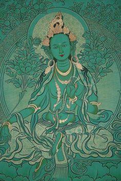 Tibetan Buddhist Thangka of Droljang (Green Tara) Lotus Buddha, Art Buddha, Buddha Kunst, Tibetan Art, Tibetan Buddhism, Green Tara Mantra, Tara Goddess, Vajrayana Buddhism, Thangka Painting