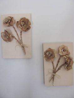 Lindíssima dupla de quadros paineis, de arranjos de rosas feitas com filtros de café reciclados. O painel foi pintado de bege para melhor destaque das flores. Conheça outros produtos de materiais reciclados ARIARTES acessando: www.elo7.com.br/ariartes R$ 89,90
