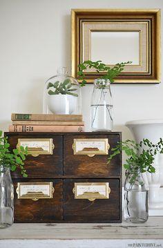 The Painted Hive home tour Kitchen Desk Areas, Kitchen Desks, Farmhouse Furniture, Farmhouse Decor, Cottage Farmhouse, Hive Home, Wood Drawers, Ikea Drawers, Interior Decorating