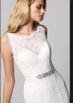 Lace collar strapless gown