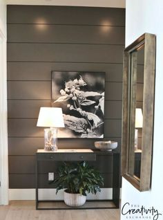 Painted shiplap statement wall in hallway.