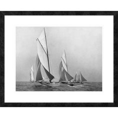 "Global Gallery 'Sailboats Sailing Downwind, CA. 1900-1920' by Edwin Levick Framed Graphic Art Size: 26"" H x 32"" W x 1.5"" D"