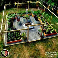 Fenced garden with raised beds. #raisedbedsfence