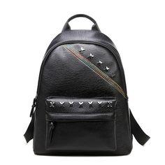 High Quality PU Leather Women Backpack Preppy Style School Bag Backpacks  Black Rivet Female Bags For Teenagers Girls Mochila 24dd7f4db4d06