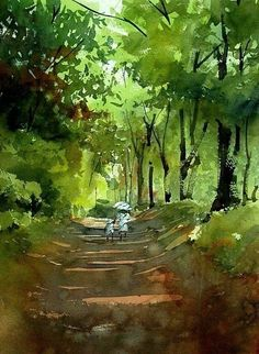 Kazuo Kasai-May Green - Gouache Painting Watercolor Landscape Paintings, Watercolor Trees, Watercolor Artists, Watercolor Illustration, Landscape Art, Watercolor Japan, Japan Landscape, Art Aquarelle, Art Graphique