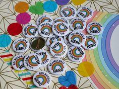 Personalised Badges, Custom Badges, Rainbow Badge, Badge Maker, School Badges, Hope Symbol, Badge Design, Button Badge, How To Make Buttons
