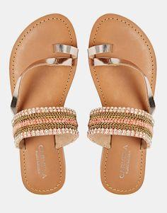 Image 2 ofCarvela Kart Gold Leather Flat Sandals